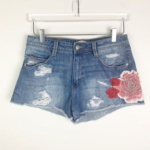 Zara Distressed Embroidered Jean Shorts 6